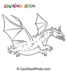 coloring vector outline cartoon medieval dragon cherry fruit