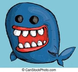 whale cartoon cute retro