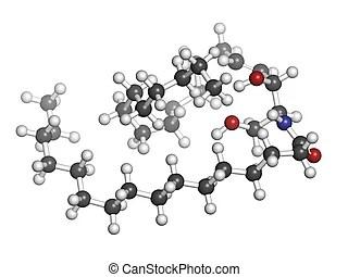 Lipid a bacterial endotoxin, molecular model. atoms are
