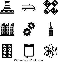 Chemical factory silhouette for industrial and technology