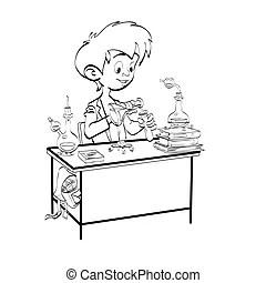 Schoolboy boy drawing lesson designer engineer line art.