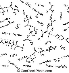 Chemistry pattern. Seamless pattern of chemical reactions