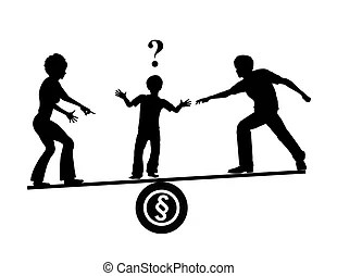 Child custody. Child custody and parents divorcing family