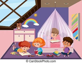 attic clipart vector children bedroom illustration eps illustrations sonulkaster brick cottage cute
