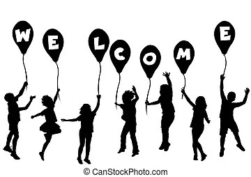 Silhouette young girl holding balloons Illustrations and