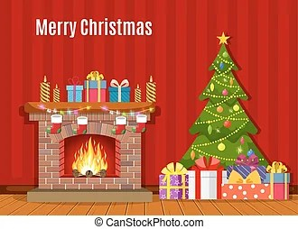 christmas fireplace clipart vector
