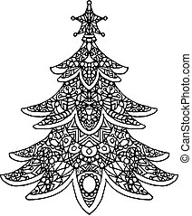 Vector illustration coloring for adults christmas tree