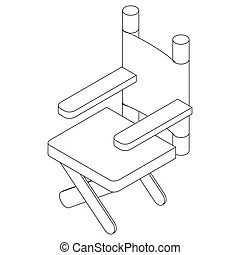 Isometric outline furniture. 3d line drawn isometric chair