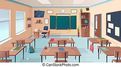 Empty cartoon classroom school room with class chalkboard and desks modern mathematical classrooms interior vector CanStock