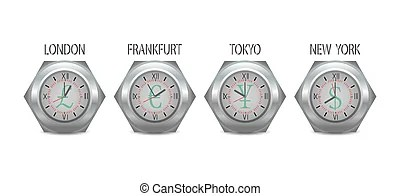 Time zones. Clocks showing different time zones.