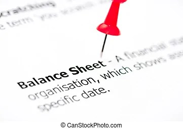 Red pencil circling balance sheet figure. Close-up of a