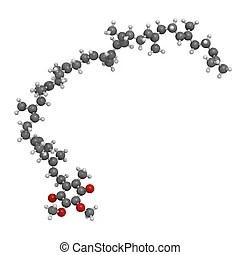Glutamine (gln, q) molecule. Chemical structure of a
