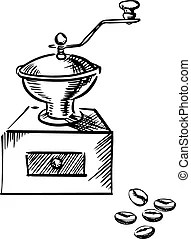 Old-fashioned coffee grinder.