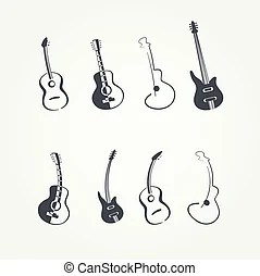 Stylized guitar logo vector with ornaments.