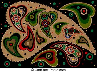 colored paisley light green
