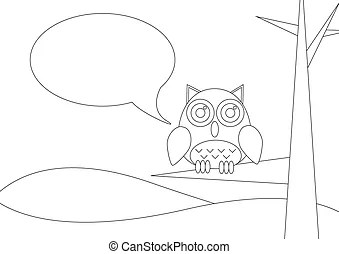 Wise owl with a book