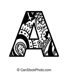 Hand drawn alphabet letter h vector isolated on white