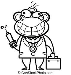 Cartoon monkey doctor with first aid kit and syringe.