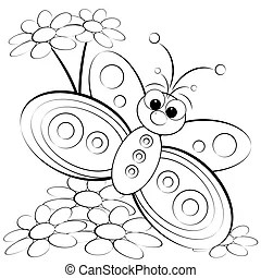 Cartoon insects for coloring book. Black and white cartoon