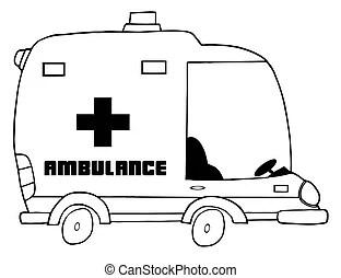 Red paramedic ambulance. Red paramedic ambulance, bold