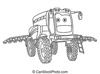 Vehicles machines cartoon coloring page. Black and white