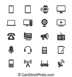 Communication device icons. Simple vector icons. clear and