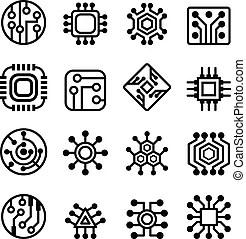 Electronic circuit symbols. Complete set of electronic