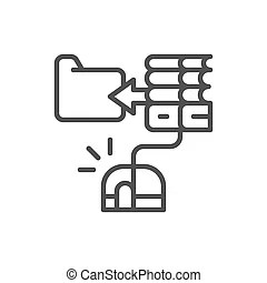 Hand with computer mouse and book vector illustration.