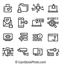 Isolated computer security and cyber thift icons from