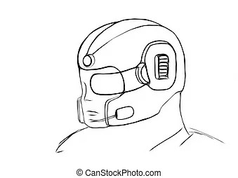 Conceptual gas masked army helmet. Hand drawn with wacom