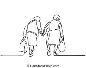 walking elderly drawing friends line senior vector illustration continuous woman clip getdrawings serve