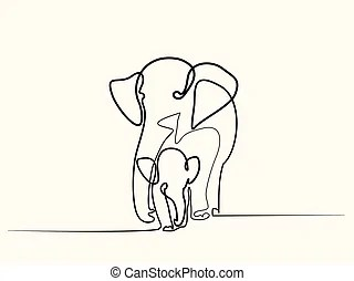 Outlined baby elephant.