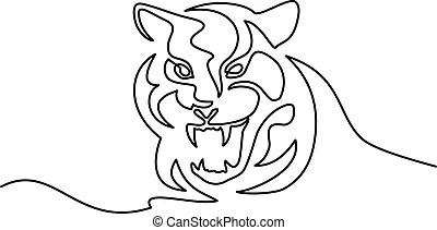 Tiger head outline Vector Clipart Illustrations. 360 Tiger