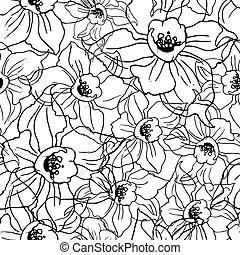 Seamless vertical fantasy flowers border pattern. hand