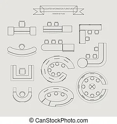 Bed furniture outline icon, top view for interior plan
