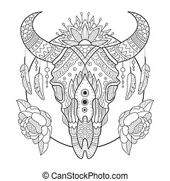 Clip Art Vector of Decorated Cow Skull with mandala and
