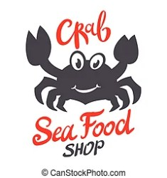 crab packaging seafood silhouette craft food branding restaurant template vector illustration