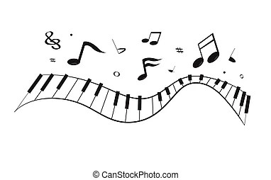 Man singing song with piano keyboard and notes. vector