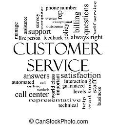 Customer service word cloud concept with great terms such