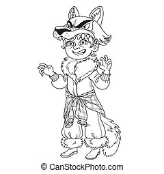 Bad wolf in bed coloring page. Black and white cartoon