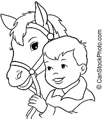 little girl riding pony horse,cartoon picture isolated on
