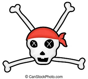 Danger skull with bones Drawing art of cartoon danger