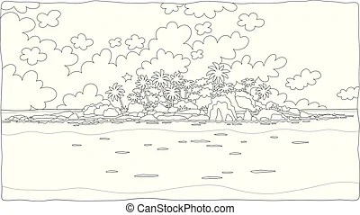 Desert island cartoon coloring page. Black and white