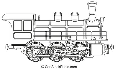 Steam train. Illustration on rail transport isolated on white.