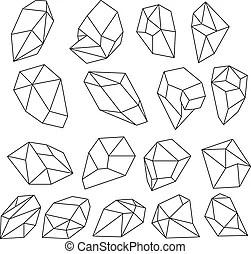 Set of gem stones, vector illustration.