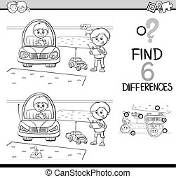 Differences game coloring page. Black and white cartoon