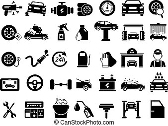 Car services icons. Car services and transportation icons