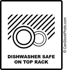Dishwasher safe symbol isolated. dishwasher safe sign