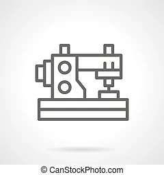 Sewing machine simple black line vector icon. Sewing