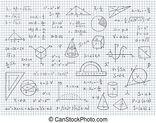 School board doodle with formulas and graphs on math